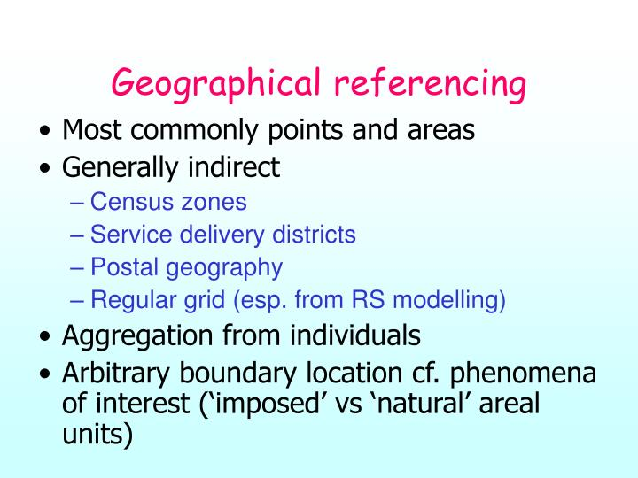 Geographical referencing