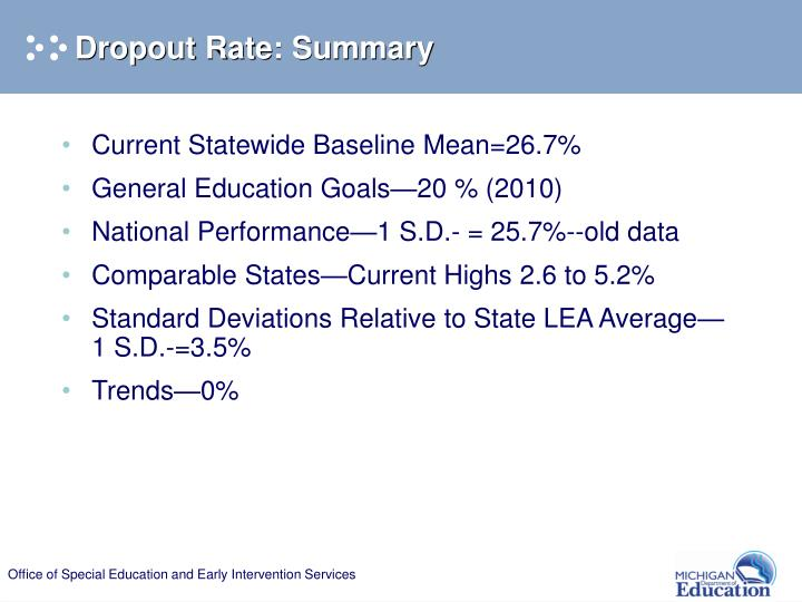 Dropout Rate: Summary