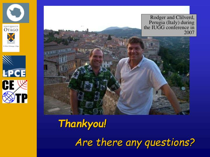 Rodger and Clilverd, Perugia (Italy) during the IUGG conference in 2007