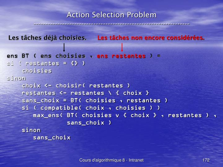 Action Selection Problem