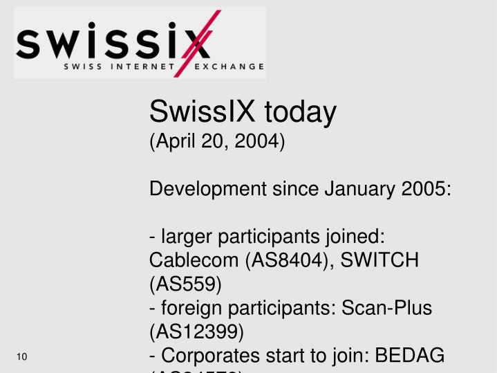 SwissIX today