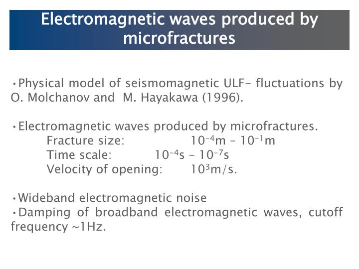Electromagnetic waves produced by microfractures
