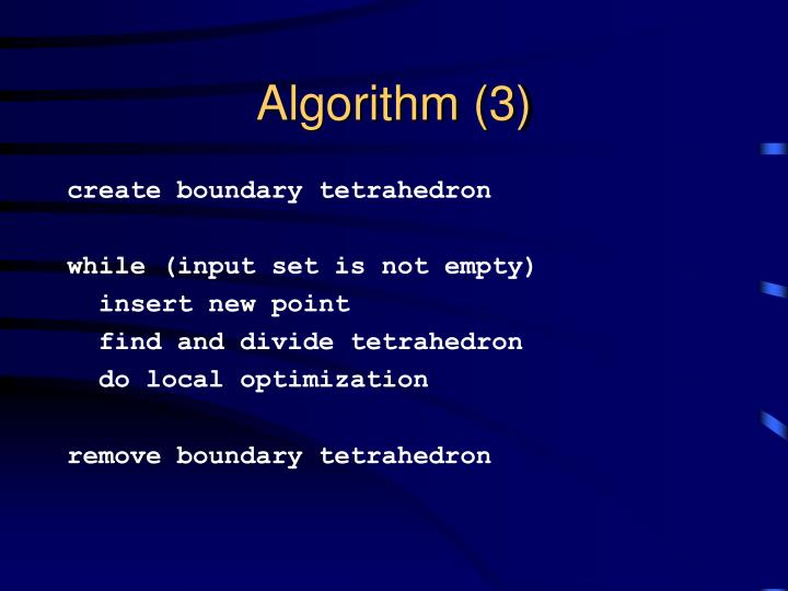 Algorithm (3)