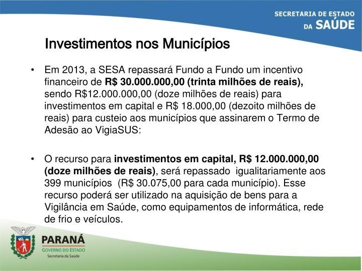 Investimentos nos Municípios