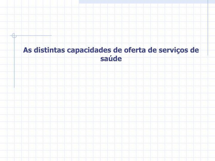 As distintas capacidades de oferta de serviços de saúde