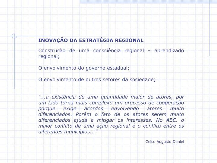 INOVAÇÃO DA ESTRATÉGIA REGIONAL