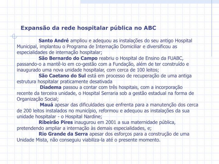 Expansão da rede hospitalar pública no ABC