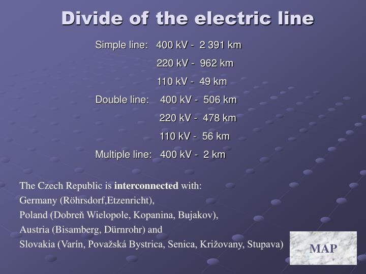 Simple line:   400 kV -  2 391 km