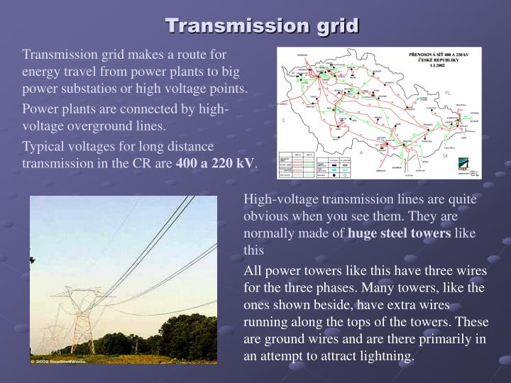 Transmission grid makes a route for energy travel from power plants to big power substatios or high voltage points.