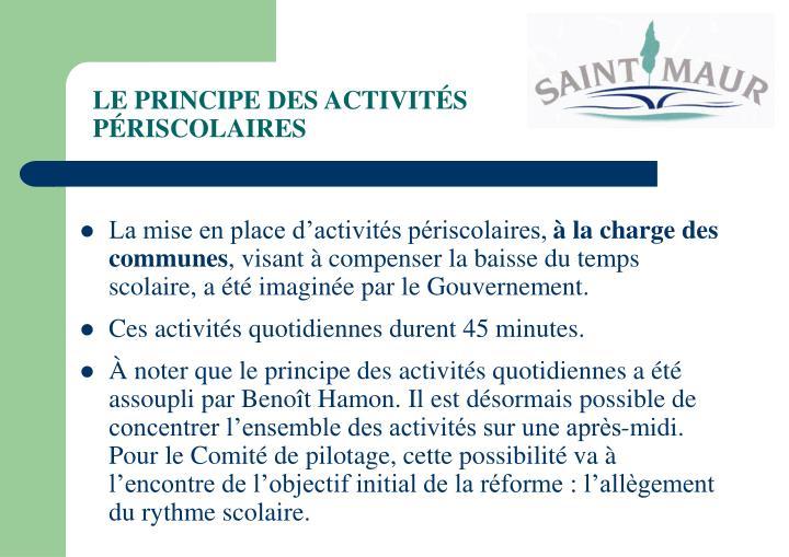 LE PRINCIPE DES ACTIVITÉS