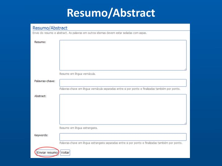 Resumo/Abstract