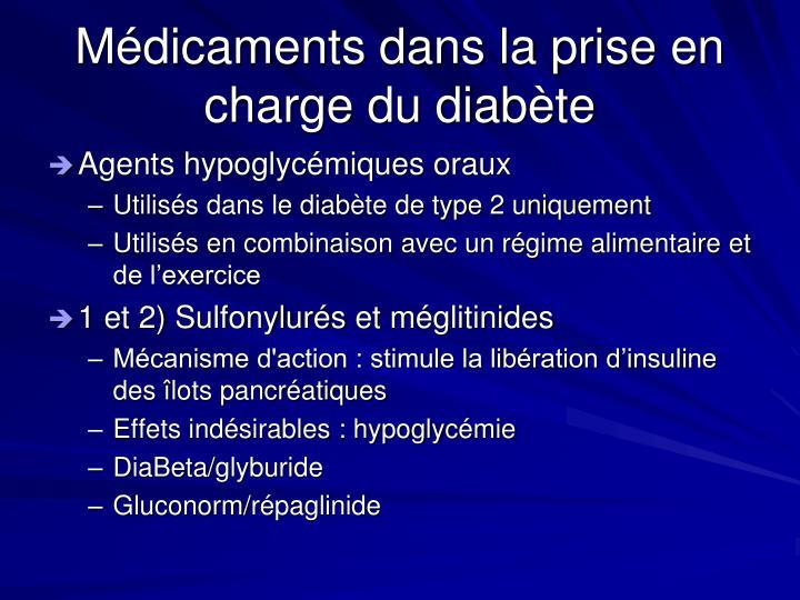 Médicaments dans la prise en charge du diabète