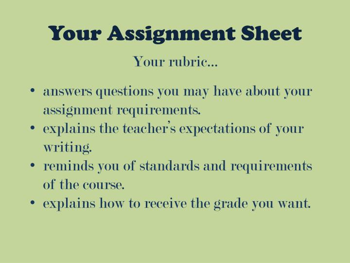 Your Assignment Sheet