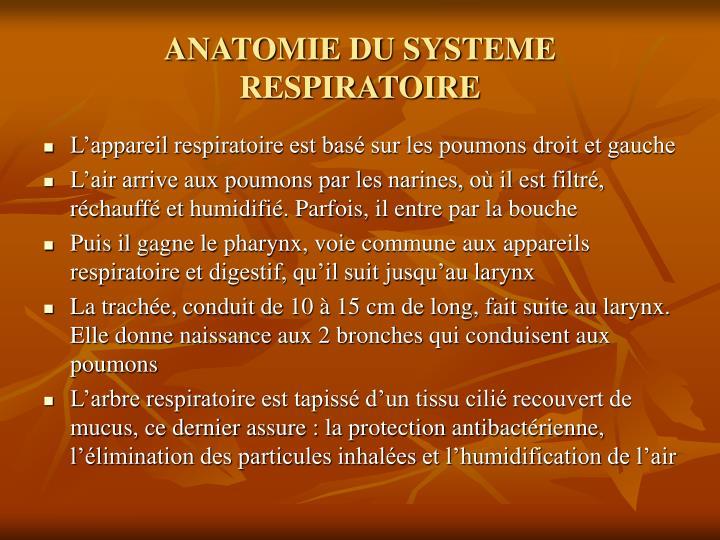 ANATOMIE DU SYSTEME RESPIRATOIRE