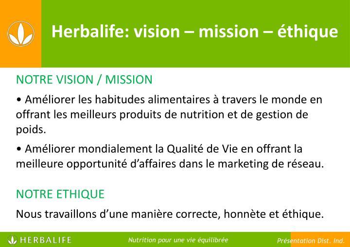 Herbalife: vision – mission – éthique