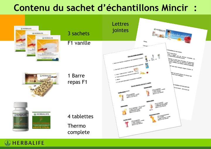 Contenu du sachet d'échantillons Mincir  :