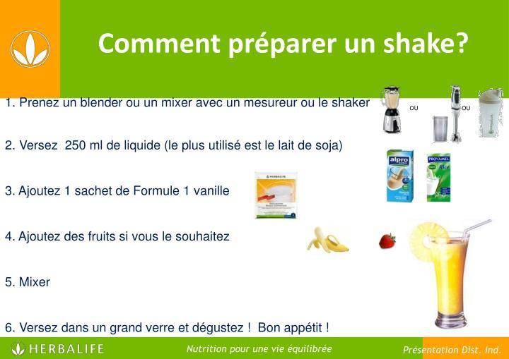 Comment préparer un shake?