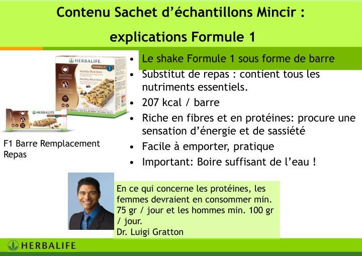 Contenu Sachet d'échantillons Mincir :