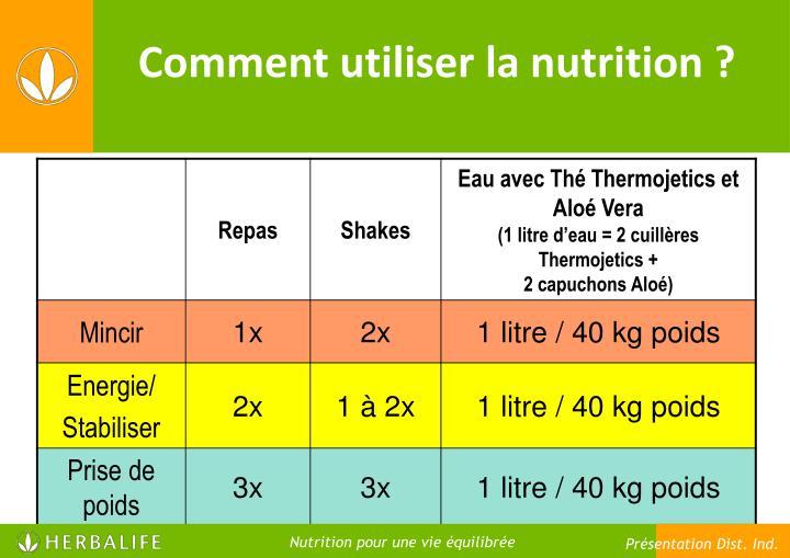 Comment utiliser la nutrition ?