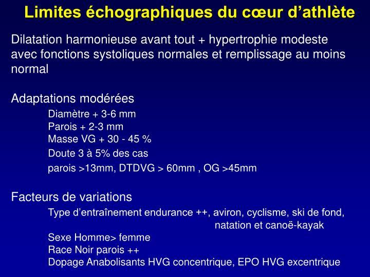 Limites échographiques du cœur d'athlète