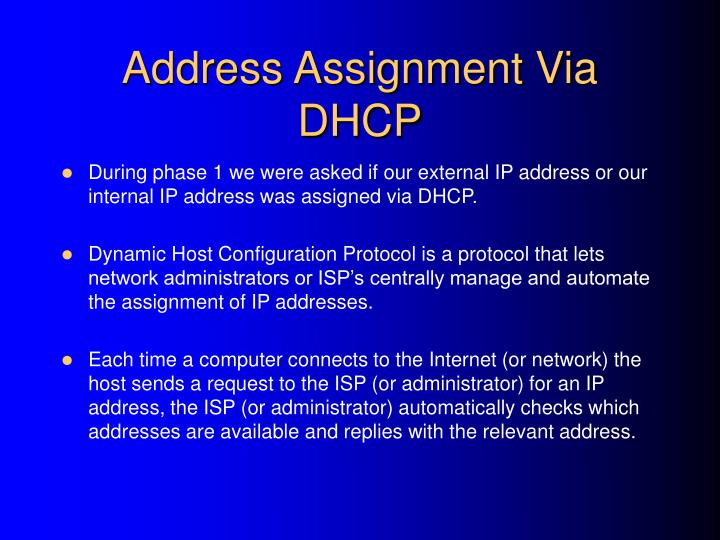 Address Assignment Via DHCP