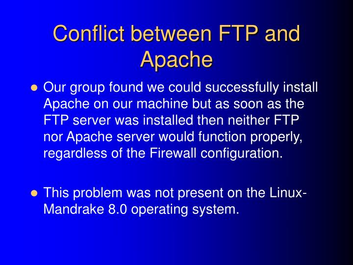 Conflict between FTP and Apache