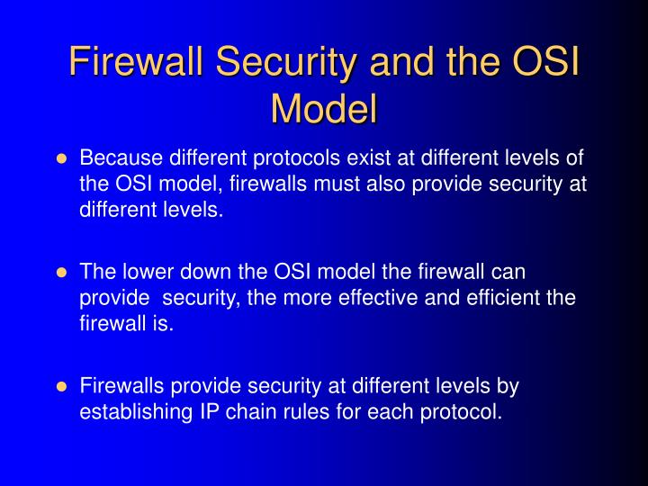 Firewall Security and the OSI Model