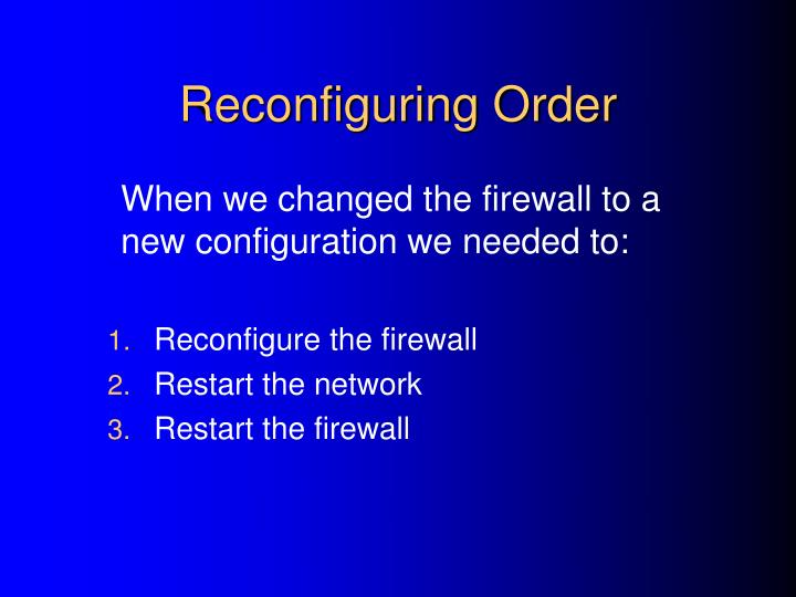 Reconfiguring Order