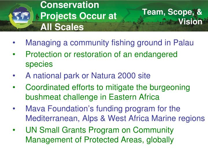 Conservation Projects Occur at All Scales