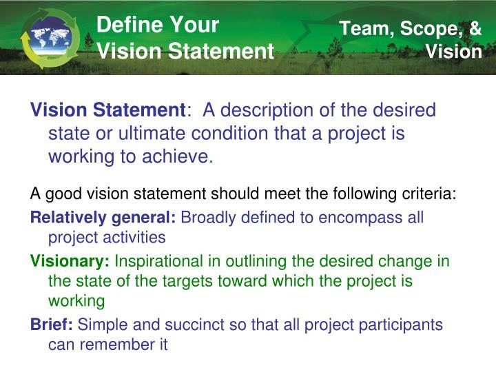 Define Your Vision Statement