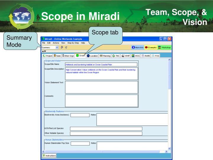 Scope in Miradi