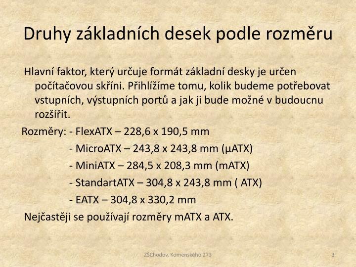 Druhy základních desek podle rozměru