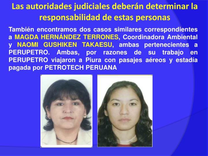 Las autoridades judiciales deberán determinar la responsabilidad de estas personas