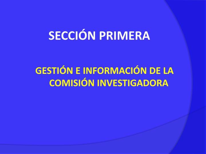 SECCIÓN PRIMERA