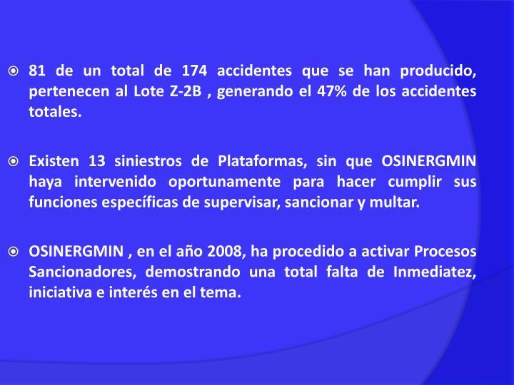 81 de un total de 174 accidentes que se han producido, pertenecen al Lote Z-2B , generando el 47% de los accidentes totales.