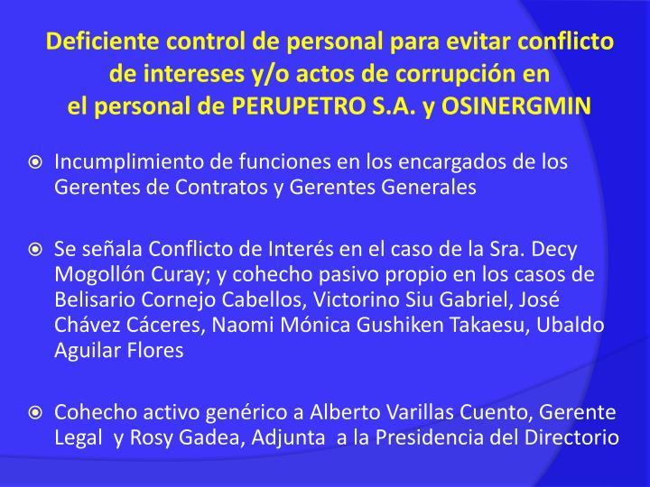 Incumplimiento de funciones en los encargados de los  Gerentes de Contratos y Gerentes Generales