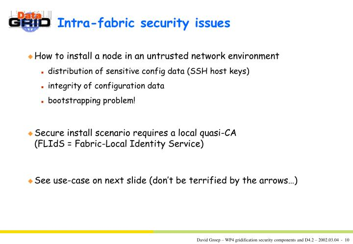 Intra-fabric security issues