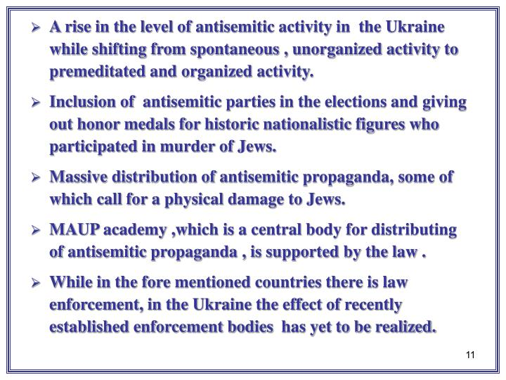 A rise in the level of antisemitic activity in  the Ukraine while shifting from spontaneous , unorganized activity to premeditated and organized activity.