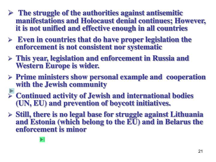 The struggle of the authorities against antisemitic manifestations and Holocaust denial continues; However, it is not unified and effective enough in all countries
