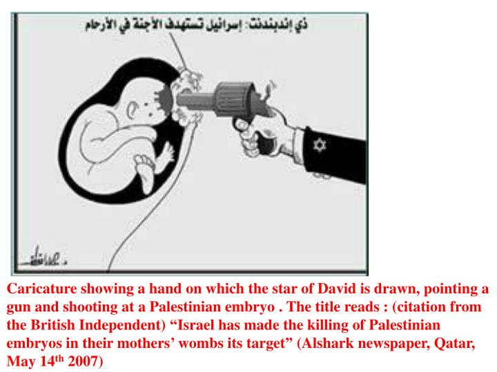 Caricature showing a hand on which the star of David is drawn, pointing a gun and shooting at a Palestinian embryo