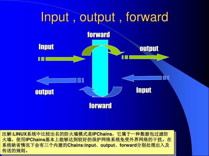 Input , output , forward