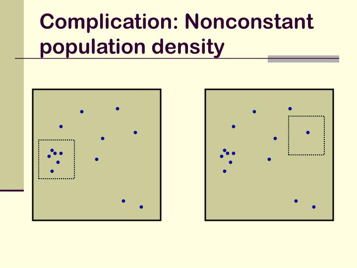 Complication: Nonconstant population density