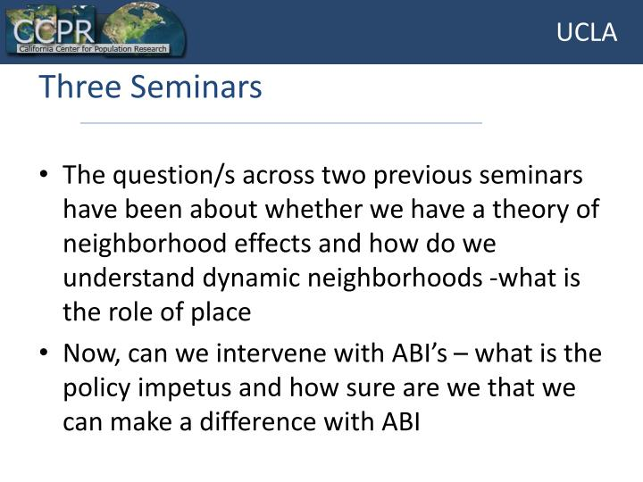 Three Seminars