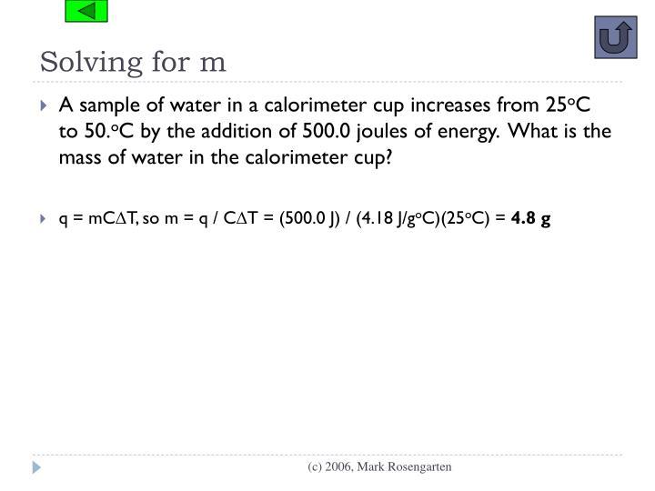 Solving for m