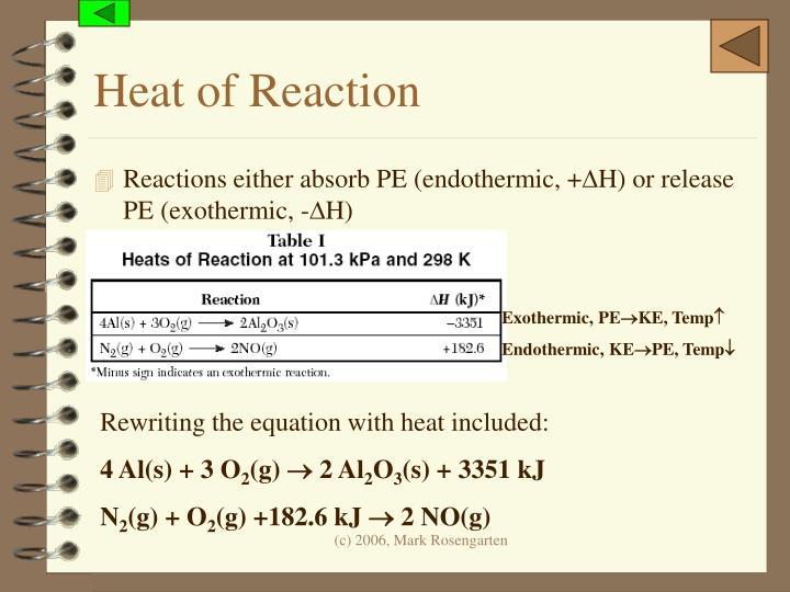 Heat of Reaction