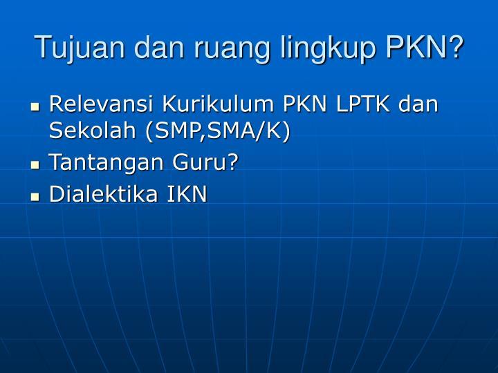 Tujuan dan ruang lingkup PKN?