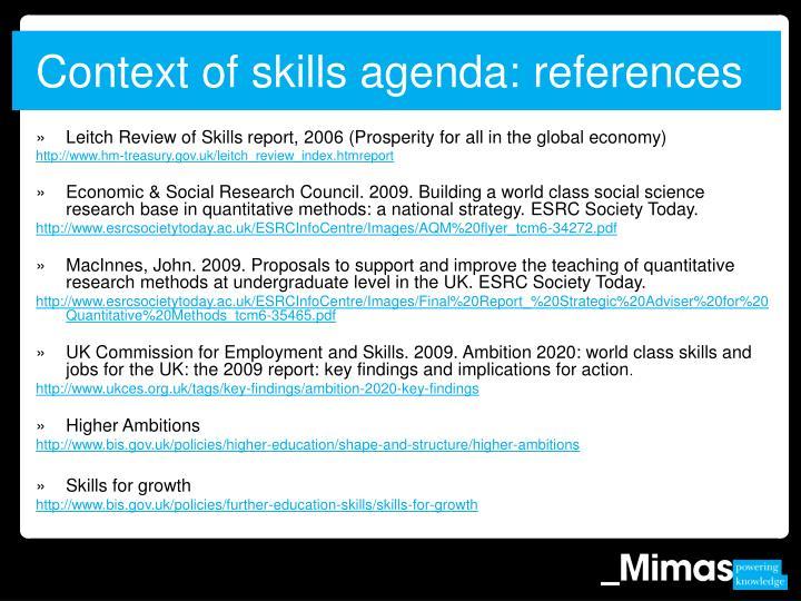 Context of skills agenda: references