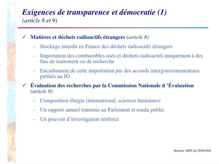 Exigences de transparence et démocratie (1)