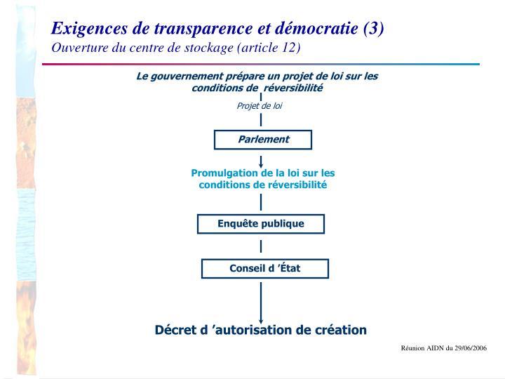 Exigences de transparence et démocratie (3)