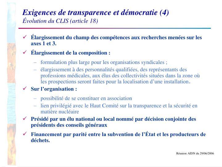 Exigences de transparence et démocratie (4)